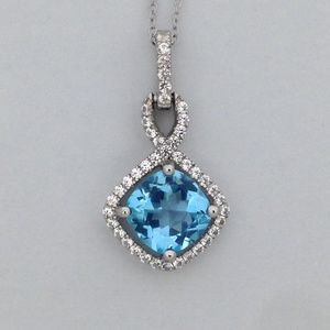 Natural Blue Topaz with White Sapphire Pendant
